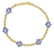 1.80ct tw Tanzanite 7 Floral Bracelet, 14K - J311936