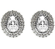 Judith Ripka Sterling Oval Diamonique Halo Earrings - J314136