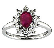 Oval Ruby & Diamond Accent Ring, Sterling - J314936