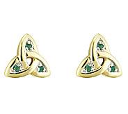 Emerald Trinity Knot Stud, 14K - J316436