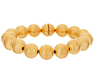 Oro Nuovo 7-1/4 Round Bead Magnet Clasp Bracelet, 14K - J318236