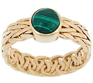 14K Gold Malachite Woven Wheat Design Ring - J319536
