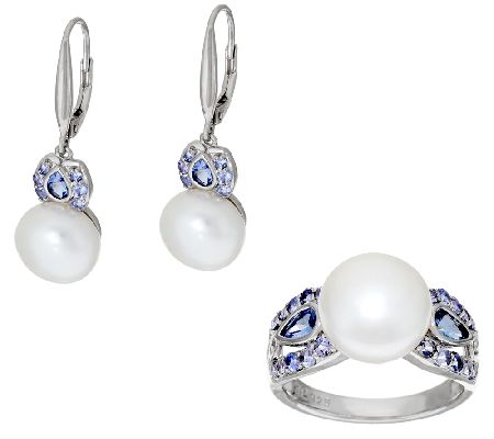 Honora Cultrd Pearl 10.0mm&Tanzanite Ster.Ring or Earrings