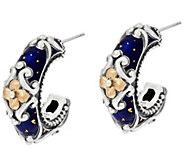 Barbara Bixby Sterling & 18K Blue Enamel Hoop Earrings - J321436
