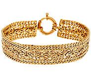 14K Gold 7-1/4 Triple Curb & Byzantine Woven Bracelet, 9.0g - J321536