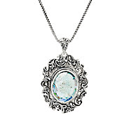 Sterling Silver Gemstone or Roman Glass Pendant w/18 Chain by Or Paz - J324136