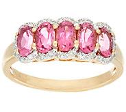 Pink Tourmaline & Diamond 5-Stone Band Ring, 14K Gold 1.00 ct tw - J326336
