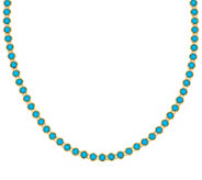 Sleeping Beauty Turquoise Sterling 18 Diamond Cut Tennis Necklace - J326936