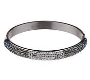 As Is Steel by Design Domed Crystal Hinged Bangle Bracelet - J329236