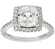 Diamonique Octagon Asscher Cut Halo Ring, Sterling - J329636