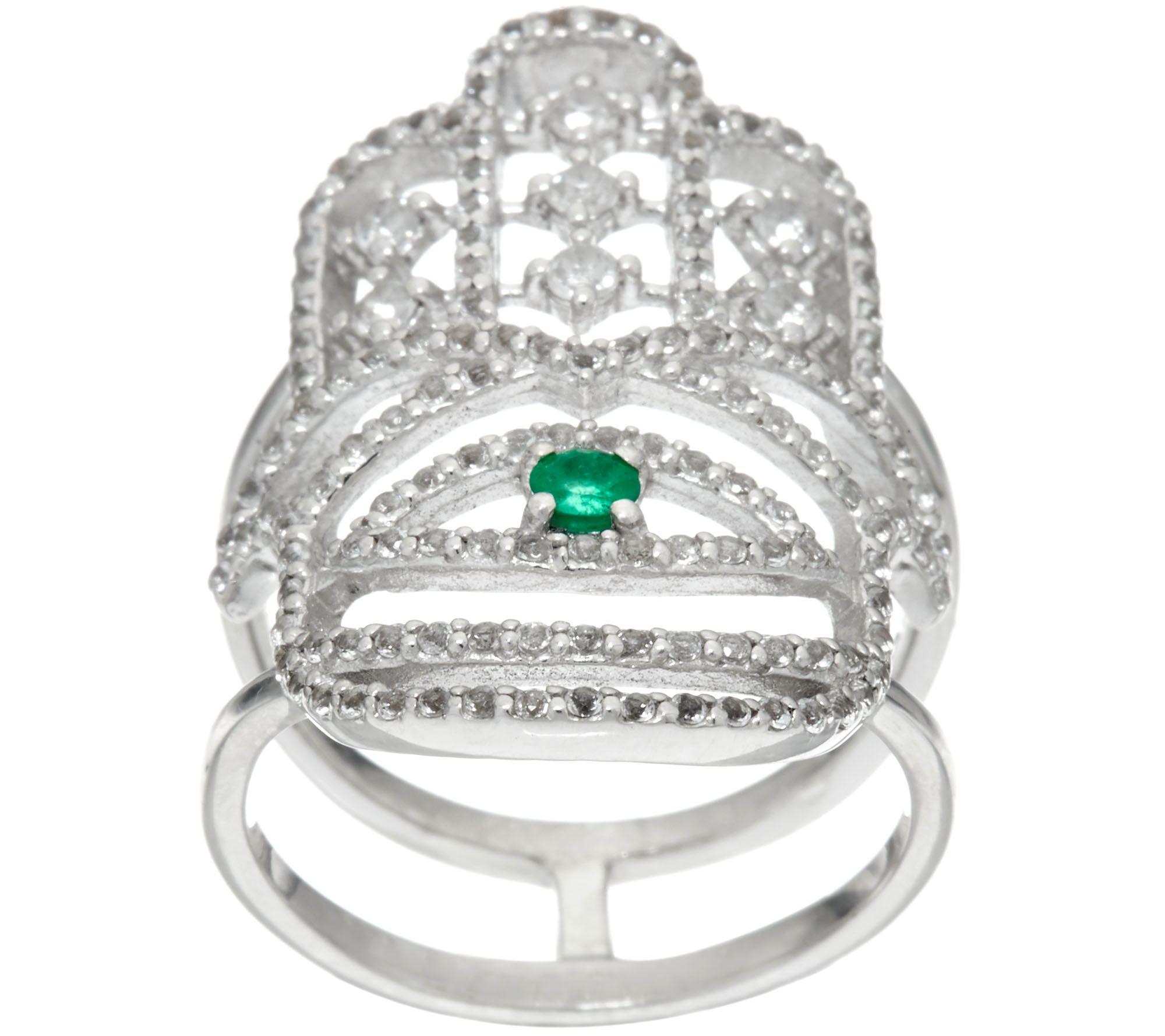 sterling emerald white topaz hamsa ring page 1