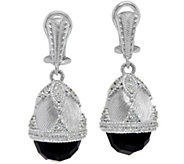 Judith Ripka Sterling Silver Faceted Onyx Egg Drop Earrings - J346936