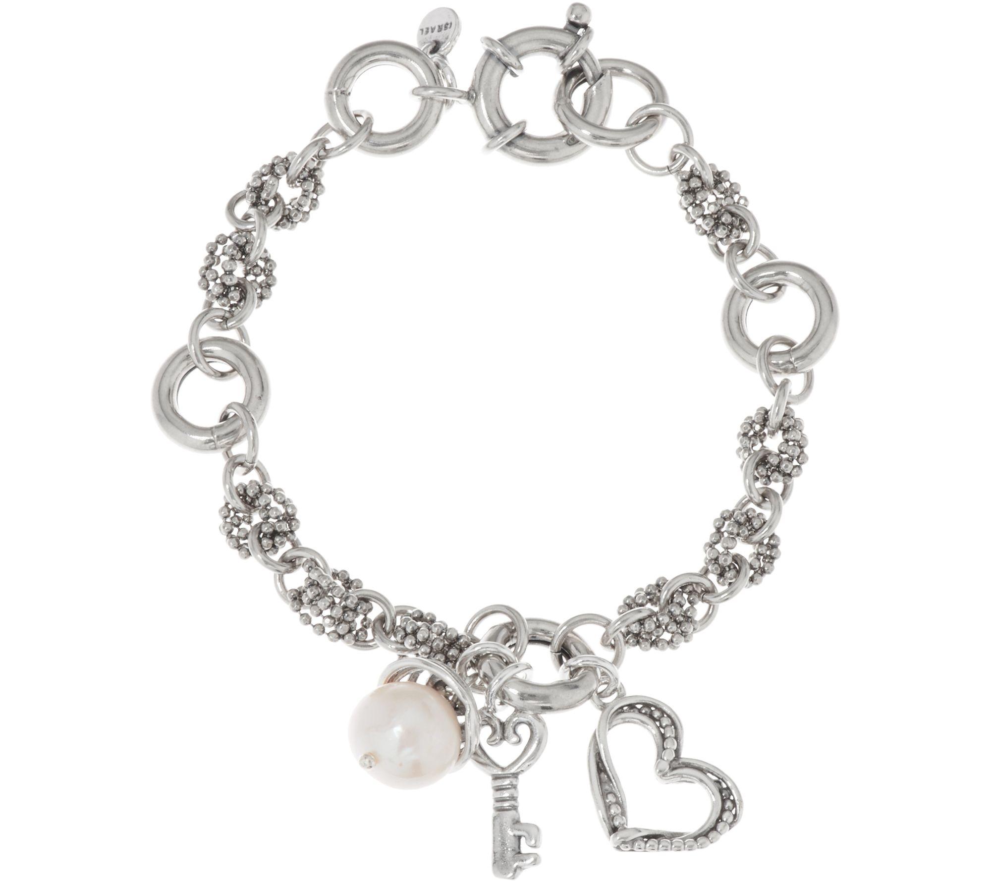 sterling silver cultured pearl  u0026 heart charm bracelet by