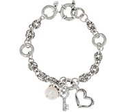 Sterling Silver Cultured Pearl & Heart Charm Bracelet by Or Paz - J348636