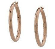 As Is Italian Gold 1-1/2 Oval Shimmering Mirro Cut Hoop Earrings - J350336