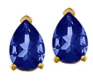 14K Pear-Shaped Gemstone Stud Earrings - J376936