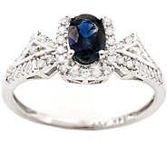 0.50 ct Sapphire & 1/4 cttw Diamond Ring, 14K White Gold - J377036