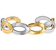 Italian Gold Two-Tone Oval Link Cuff 14K, 8.7g - J377636