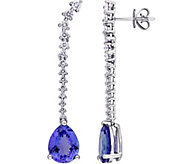 4.8 cttw Tanzanite & 7/10 cttw Diamond Drop Earrings, 14K - J377736