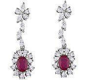 14K 2.30 cttw Ruby & 2.00 cttw Diamond Drop Earrings - J377836