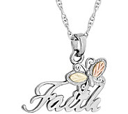 Black Hills Faith Pendant with Chain Sterling,12K Gold - J379436