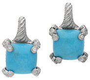 Judith Ripka Sterling Diamonique & Turquoise Earrings - J381236