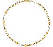Italian Gold Two-Tone Heart & Oval Link Anklet14K, 2.6g - J382036