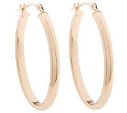EternaGold 1-1/8 Classic Domed Oval Hoop Earrings 14K - J07237