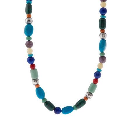 Southwestern Sterling Multi-gemstone Bead Necklace
