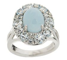 1.40 ct tw Aquamarine and Milky Aqua Cluster Sterling Ring