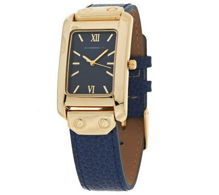 Isaac Mizrahi Live! Leather Strap Watch with Rectangle ...