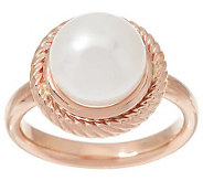 HonoraGold Cultured Pearl 10.0mm Rope Texture Ring, 14K Gold - J285537