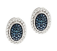 Pave Color Oval Diamond Earring Sterling, 1/4 cttw, by Affinity - J291637