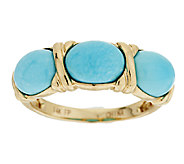 Sleeping Beauty Turquoise Three Stone Ring, 14K Gold - J294837