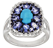 Graziela Gems Sleeping Beauty Turquoise & Tanzanite Sterling Ring - J295337