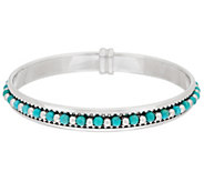 Bronze Turquoise Bead Round Bangle by Bronzo Italia - J296237