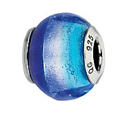 Prerogatives Dark/Light Blue Italian Murano Glass Bead - J300137