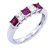 Diamonique & Simulated Ruby Ring,Platinum Clad - J302437