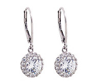 Diamonique 100-Facet 2.50 cttw Halo Earrings, Platinum Clad - J304237