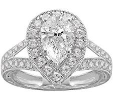 Epiphany Diamonique 2.25 ct tw Pear-Shaped Ring