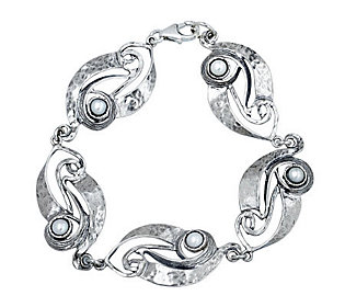 Or Paz Sterling Cultured Freshwater Pearl Swirling Bracelet