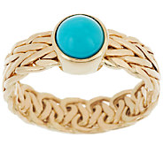 14K Gold Sleeping Beauty Turquoise Woven Wheat Design Ring - J319537