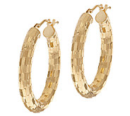 VicenzaGold 1 Shimmer Mirror Oval Hoop Earrings, 14K - J319637