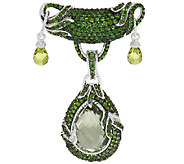 Judith Ripka Sterling & Green Gemstone Pin - J319937