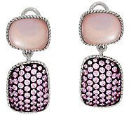 Judith Ripka Sterling Freeform Pink Doublet & Pave Earrings - J321937