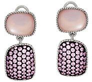 Judith Ripka Sterling Freeform Pink Doublet & Pave Earrings - J321937