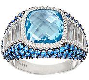 Judith Ripka Sterling Blue Topaz & Pave Ring - J324037