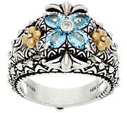 As Is Barbara Bixby Sterling Silver & 18K Gold Gemstone Flower Ring - J325237