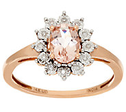 Oval Morganite & Diamond Accent Ring 14K Gold 0.65 ct - J325537