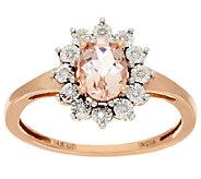 Oval Morganite & Diamond Accent Ring 14K Gold 0.65 ct - J325537